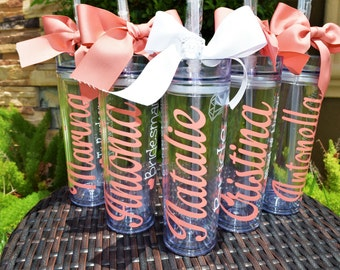 Personalized Tumbler with straw, Bridesmaid tumblers, bridesmaid gift, Bridal Party, Bachelorette Party, wedding tumbler, wedding party gift