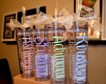 One Personalized Tumbler, Bridesmaid Favor, Wedding Favor, Bridesmaid Gift, Bridal Party, Bachelorette Party, Bridesmaid Tumbler, Teacher