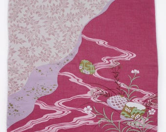 Japanese Handkerchief, Traditional Japanese, Hanky, Hankies, Pink Handkerchief, Cotton Handkerchief.