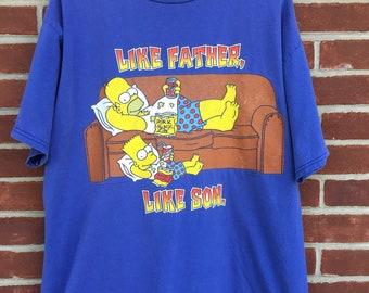 58219b2e8 Vintage Simpsons Like Father Like Son t shirt 90s bart and homer