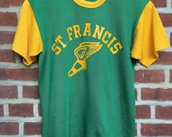 2965e9bd 60s 70s Durack nylon t shirt jersey athletic shirt green yellow St. Francis
