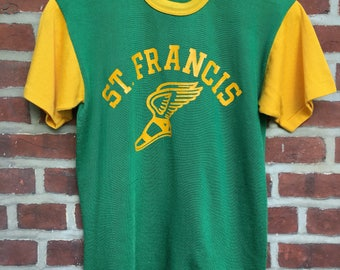 60s 70s Durack nylon t shirt jersey athletic shirt green yellow St. Francis