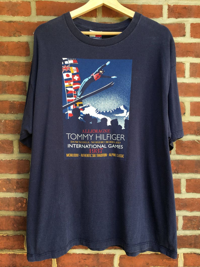 12a488a2 Vintage Tommy Hilfiger International Games t shirt 1937 down | Etsy