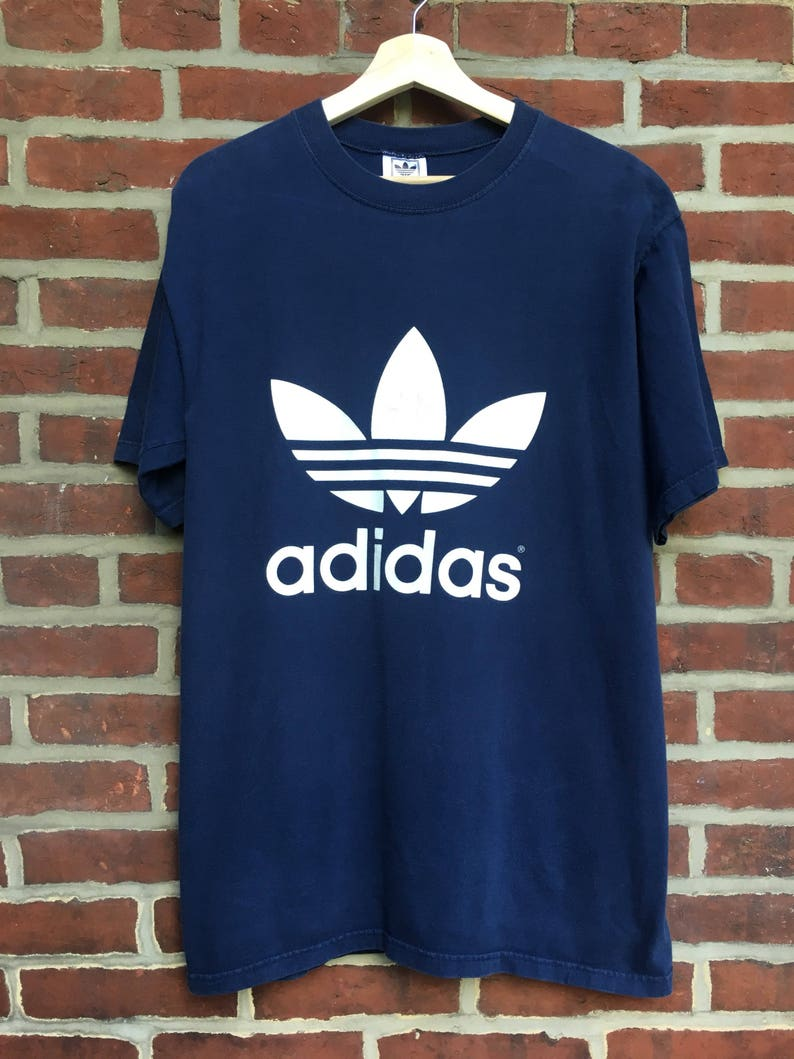 55d042290 Vintage Adidas Trefoil double sided t shirt 80s 90s | Etsy