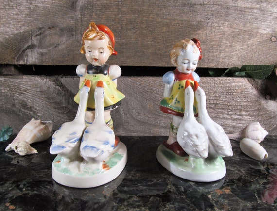 Girl with Geese Figurine, Occupied Japan Vintage Porcelain, Country Charm, Vintage Home and Farmhouse Decor, Collectible Table Art, Set of 2