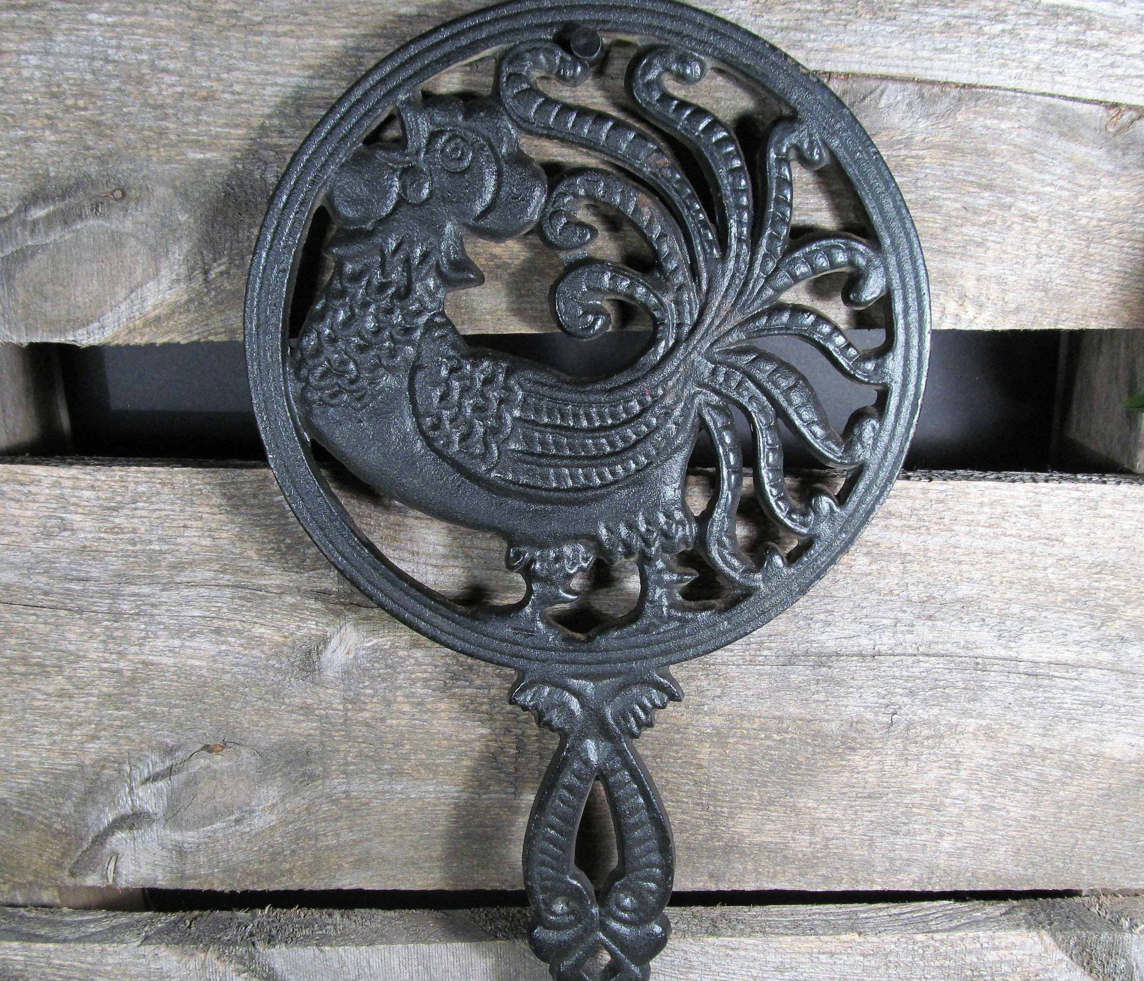 Large Cast Iron Rooster Wall Hanging Trivet Hot Plate Pan Etsy