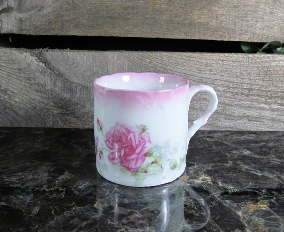 Tea or Small Coffee Cup, Limoges Fashion Porcelain, Salmon Pink, Hand Painted Roses and floral Pttern, Home Farmhouse Decor Coffee, Tea Sets