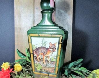Jim Beam Decanter, Collectible Bottle, Jim Lockhart Artist Print, Gray Fox, Vintage Saloon and Barewares, Retro Home Collectible