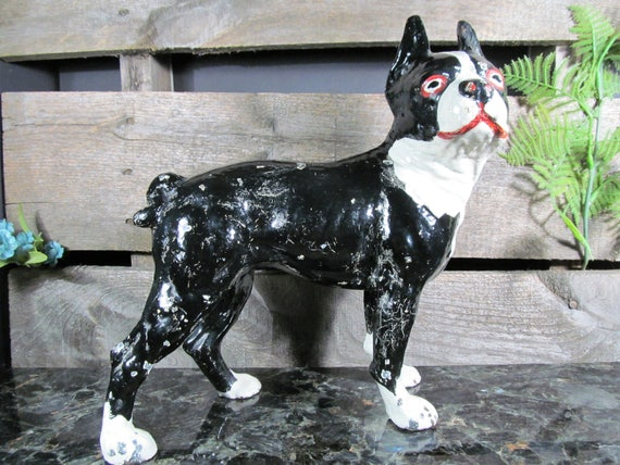 Door Stop Hand Painted Cast Iron Home Collection Boston Terrier Pup Dog Sculpture Figure 6-inch Paperweight