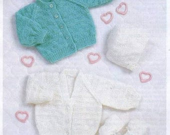 00a7d28b42002e Vintage Knitting Pattern Preemie and Newborn Baby Cardigans Bootees and  Bonnet instant download knitting pattern
