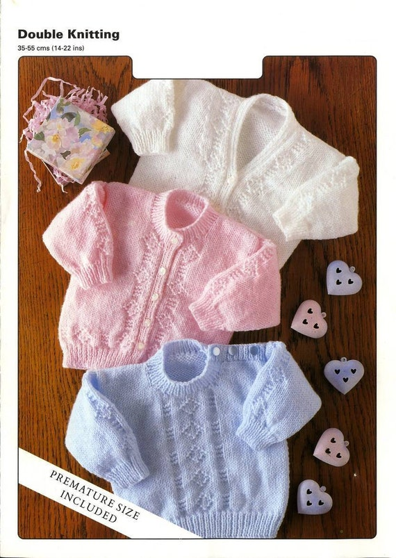 Knit Pattern Baby Sweaters And Cardigans Preemie Included Etsy