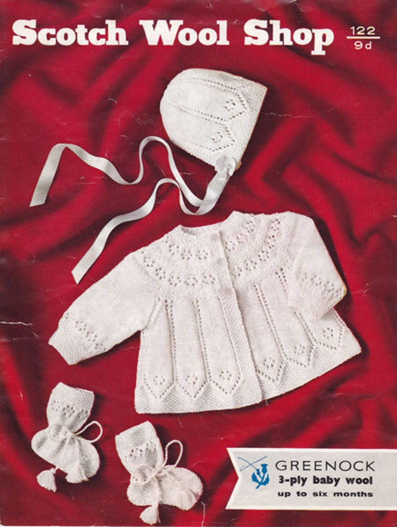 4e9da36544c7 Vintage Scotch Wool Shop 122 Knit Baby Set Matinee Coat and