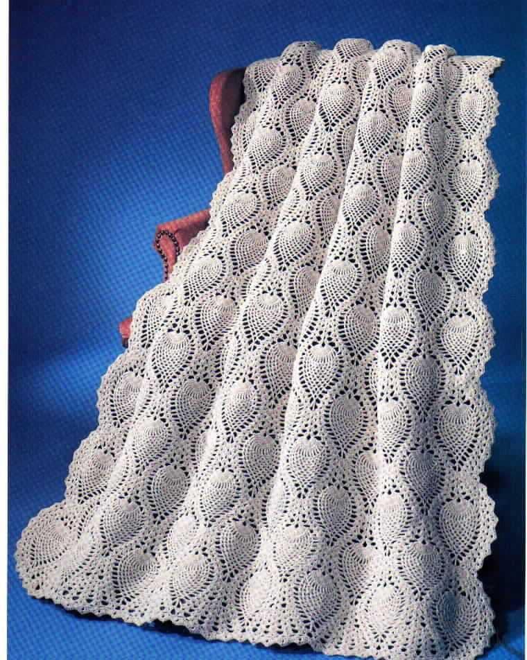 Vintage Crochet Pineapple Welcome Afghan Blanket Instant Etsy
