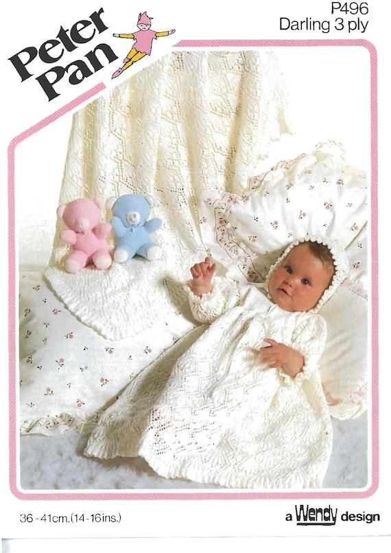 b2eef06a5 Vintage Knit Pattern Baby Christening Dress Bonnet Shawl to