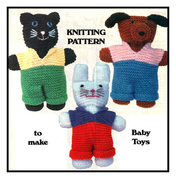 Vintage Knitted Nursery Baby Toy Animals Dolls To Knit Instant Etsy
