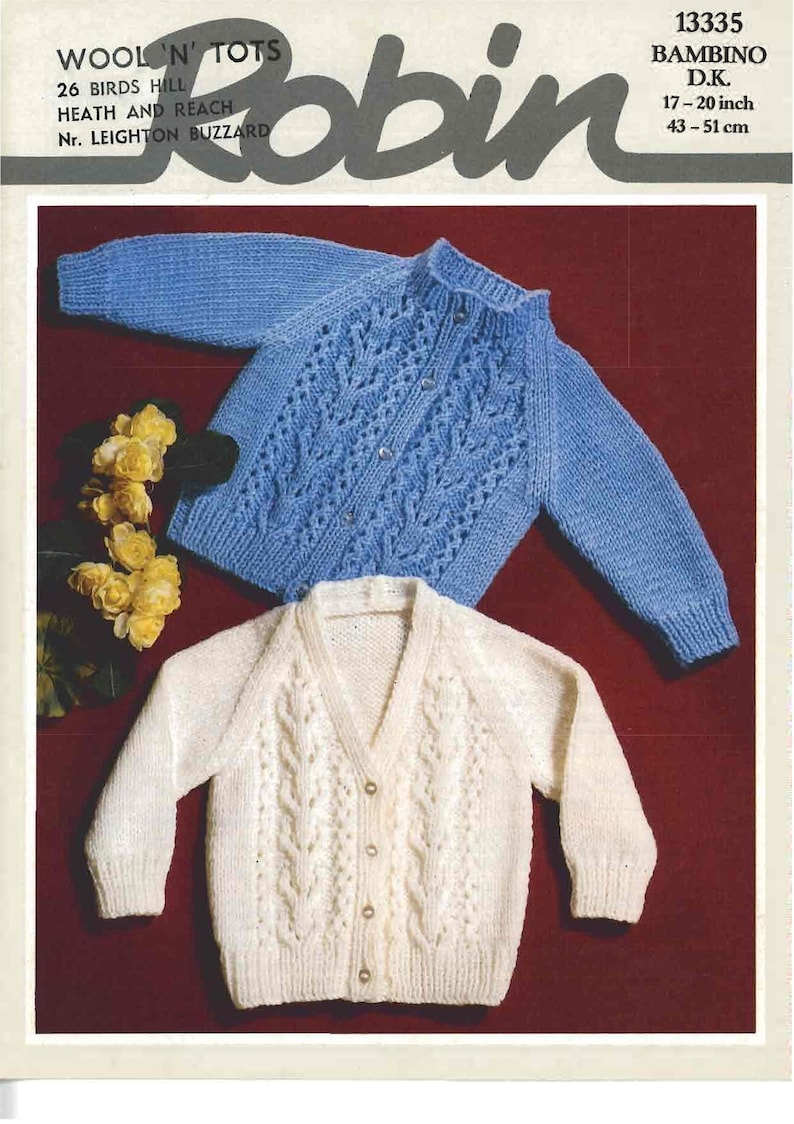 Knit vintage Robin 13335 Baby Cardigans instant download knitting pattern