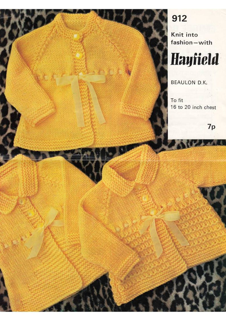 22e5dc69d426 Vintage knitting pattern for 3 different baby coats using DK