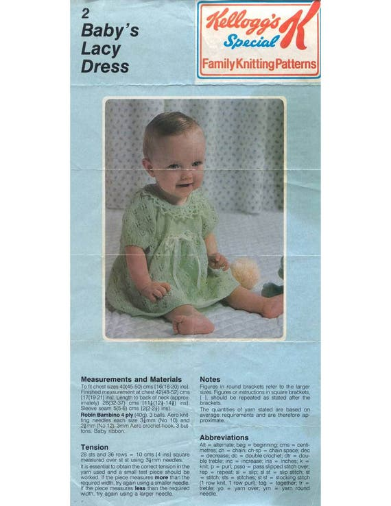 Baby Lacy Dress Vintage Knit Pattern Special K And Kellogg Etsy