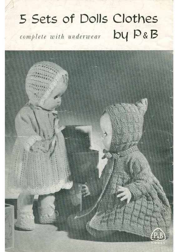 Vintage Knit Doll Clothes 4 Sizes Instant Download Knitting Etsy
