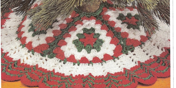 Crochet Christmas Tree Skirt Vintage Crochet Instant Download Etsy Awesome Christmas Tree Skirt Pattern