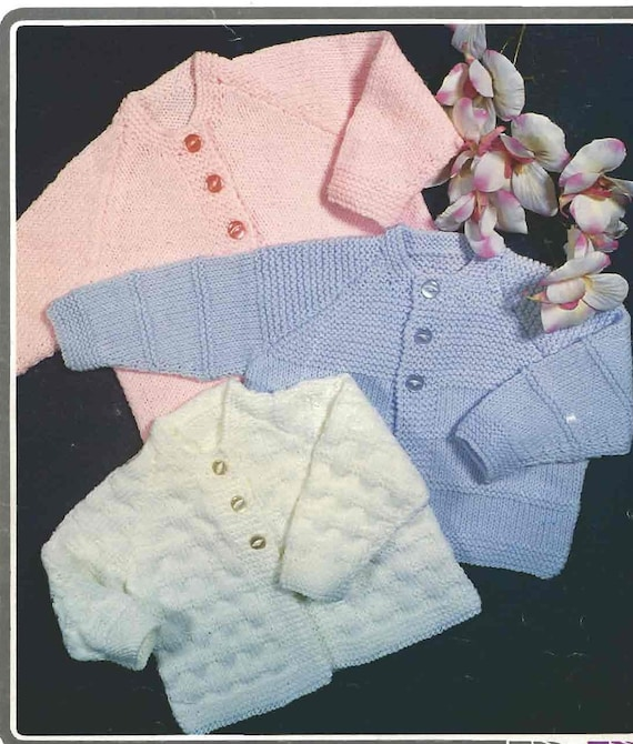 Vintage Set Of 3 Baby Cardigans Easy To Knit Instant Download Etsy