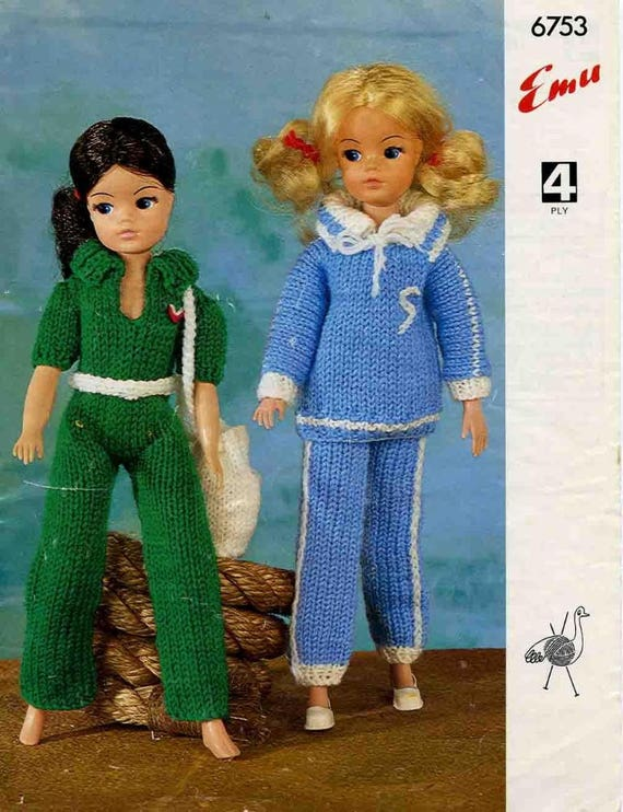 Vintage Knit Pattern Fashion Doll Sindy Barbie Clothes For Etsy