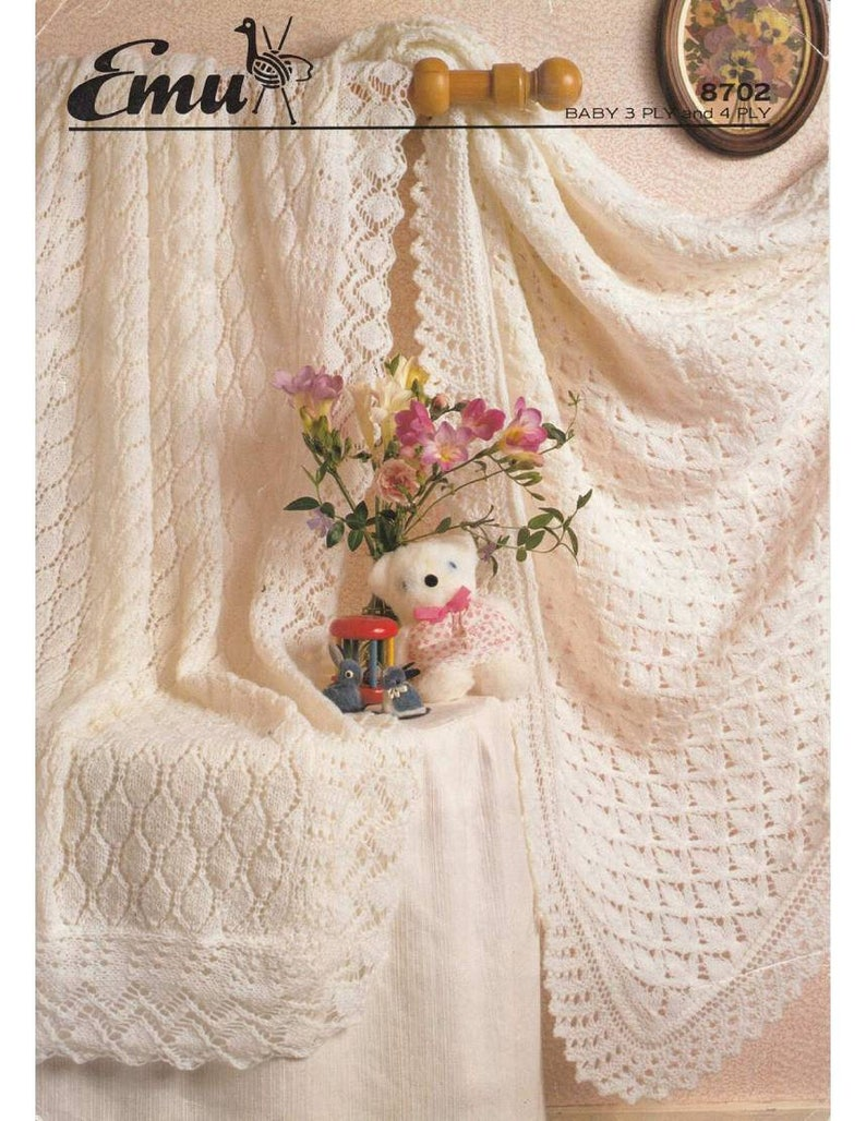Vintage Knit Pattern 2 Beautiful Baby Shawls Instant Download Etsy