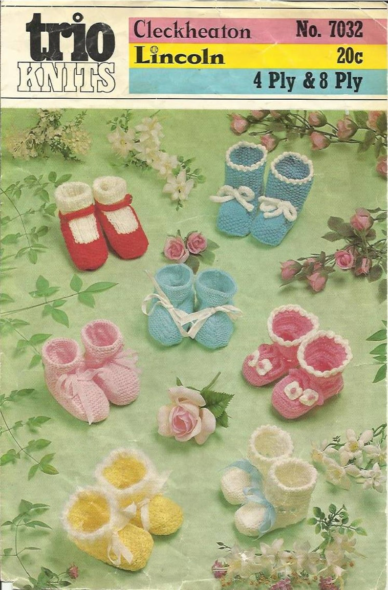 Cleckheaton Baby Booties Knit And Crochet Vintage Pattern Etsy