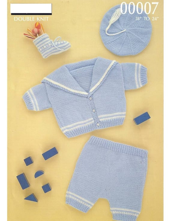 "Cable Set ~ Baby Blanket Trousers /& Hood Jacket DK 14/"" 20/"" Knitting Pattern"
