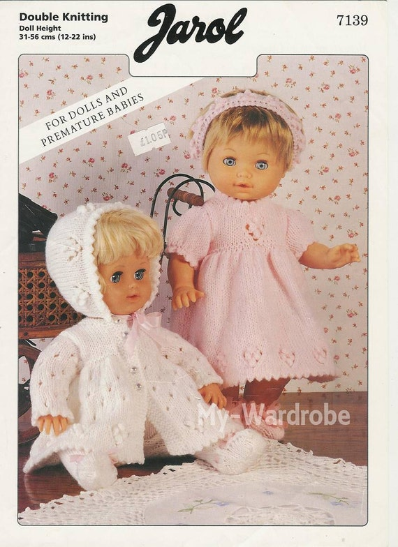 Knit Doll Clothes Pink White Sets To Fit Dolls And Premmie Etsy