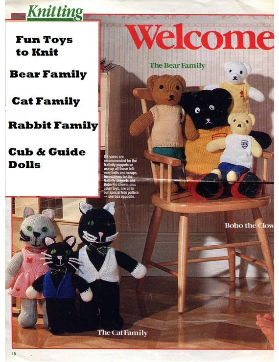 Vintage Toys To Knit Toyland Families Bears Cats Rabbits Dolls Etsy