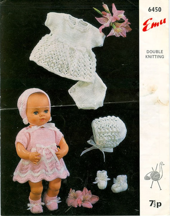 """KNITTING PATTERN TO MAKE DK VINTAGE BABY DOLLS CLOTHES 12/"""" TINY TEARS DRESSES"""