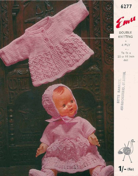 "KNITTING PATTERN VINTAGE BABY DOLLS CLOTHES 10 ITEMS TO MAKE 16/"" 18/"" 20/"""
