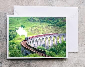 Greeting Card Hogwarts Express | Glenfinnan Viaduct | Steam Train | Harry Potter| Blank Card |Birthday Card | Christmas Card