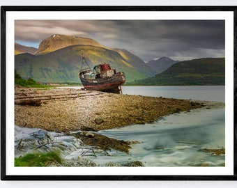 Corpach Shipwreck and Ben Nevis | Fort William | Wall Art | Colour Print | Scotland Photographic Print