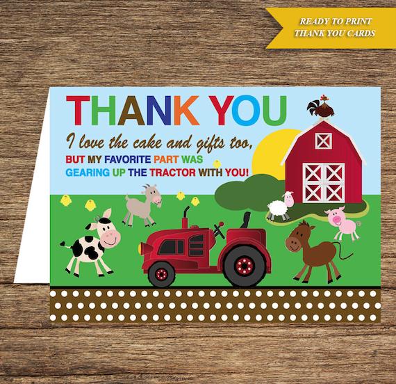 Kids Birthday Thank You Card Kb 01 Ty Digital Download Etsy