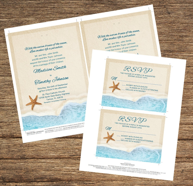 Beach Invitation and Respond Card Add your own ribbon to Invitation BCH-02-INV-RC-Digital Download