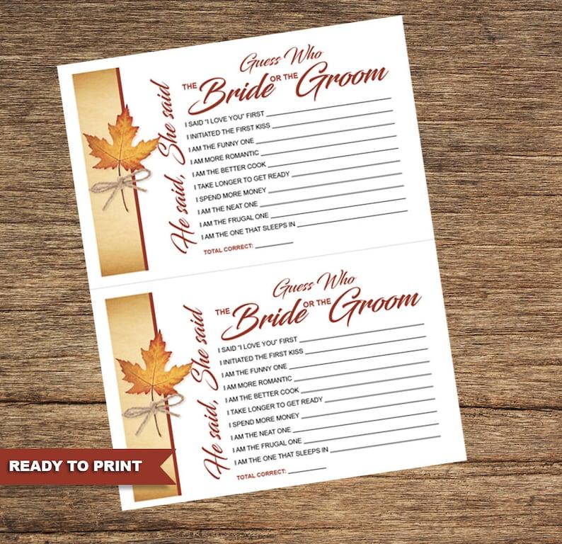 Fall Leaf Bridal Shower Games FALL-01-BSG-Digital Download