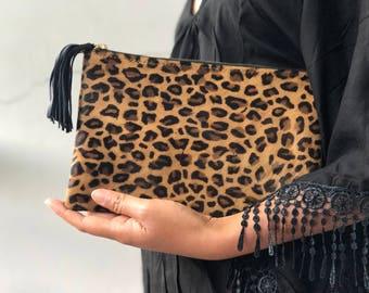 1e038fb6e SMALL flat cheetah clutch, Genuine leather leopard clutch, animal print  clutch, leopard leather clutch, leather clutch, leopard purse women