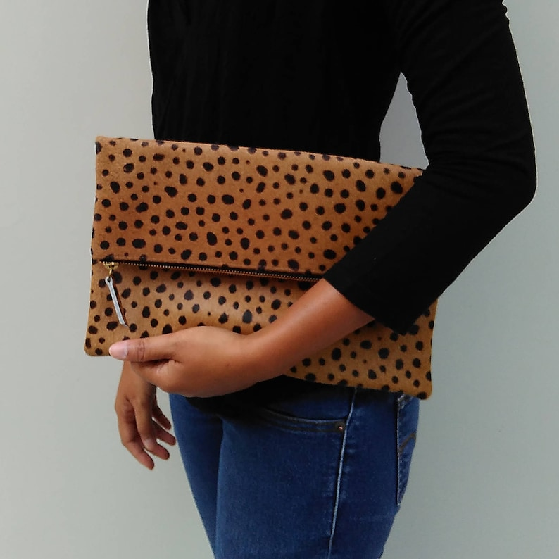 Leopard clutch Genuine leather leopard fold over clutch image 0