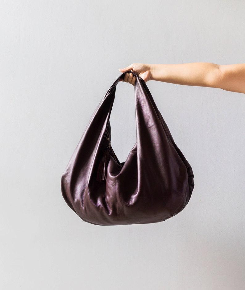 2e67bff5cdbb WINE Large hobo Bag red wine soft leather hobo bag leather   Etsy