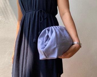 Lavender leather clutch, leather dumpling purse, evening leather pouch, dumpling pouch, formal purse, leather purse, soft leather pouch