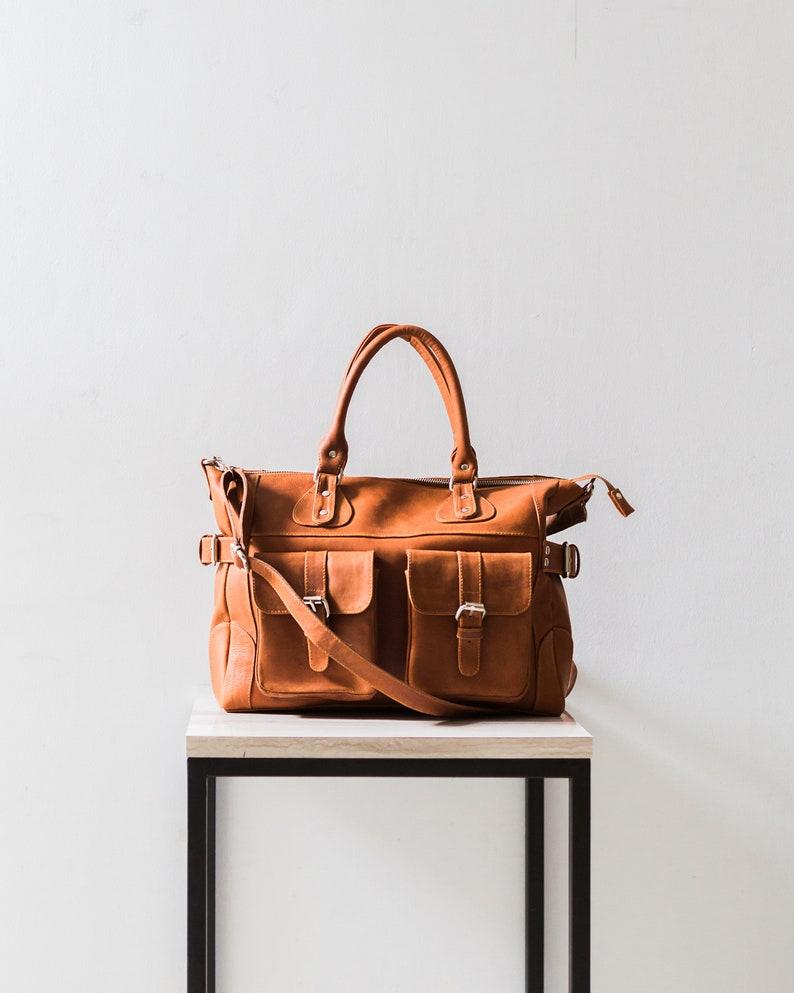 4a3f6277d7629 DIANA Leder-Einkaufstasche mit Taschen Beige Leder