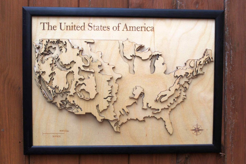 3d Usa Map Wooden Topographical Map United States Of Etsy