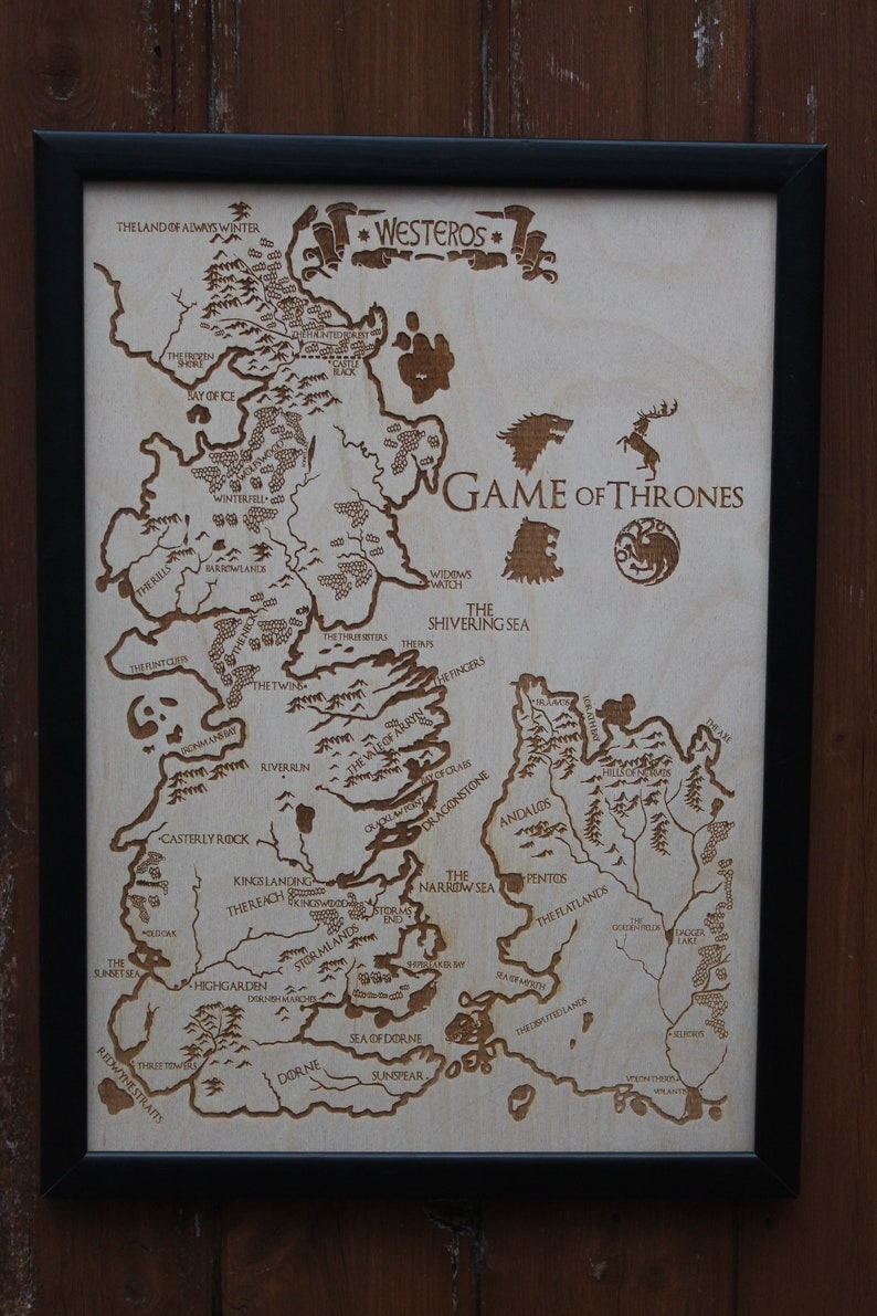 Wooden Westeros Map Engraved Into The Wood Game Of Thrones Map