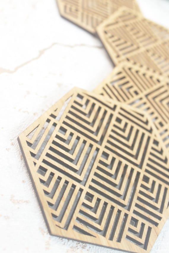 La physique style sous-verres Set de 4 Découpe Laser Oak Wood Science Coasters