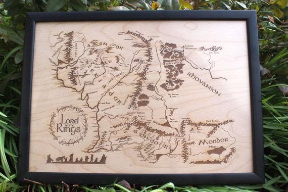 Grande Carte De Terre Du Milieu En Bois Grave Dans Le Bois Le Etsy