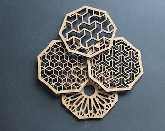 Geometric Delights Laser Cut Coasters Set of 4
