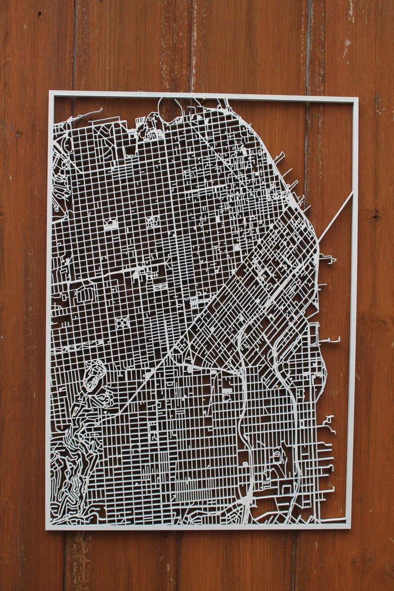 San Francisco Wood Map Laser Cut Street Maps Wooden Map | Etsy on