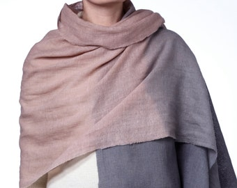 Wool and linen, plant dyed shawl WESTERLY ( rose - grey )